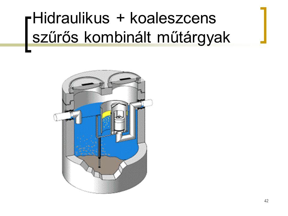 Hidraulikus + koaleszcens szűrős kombinált műtárgyak