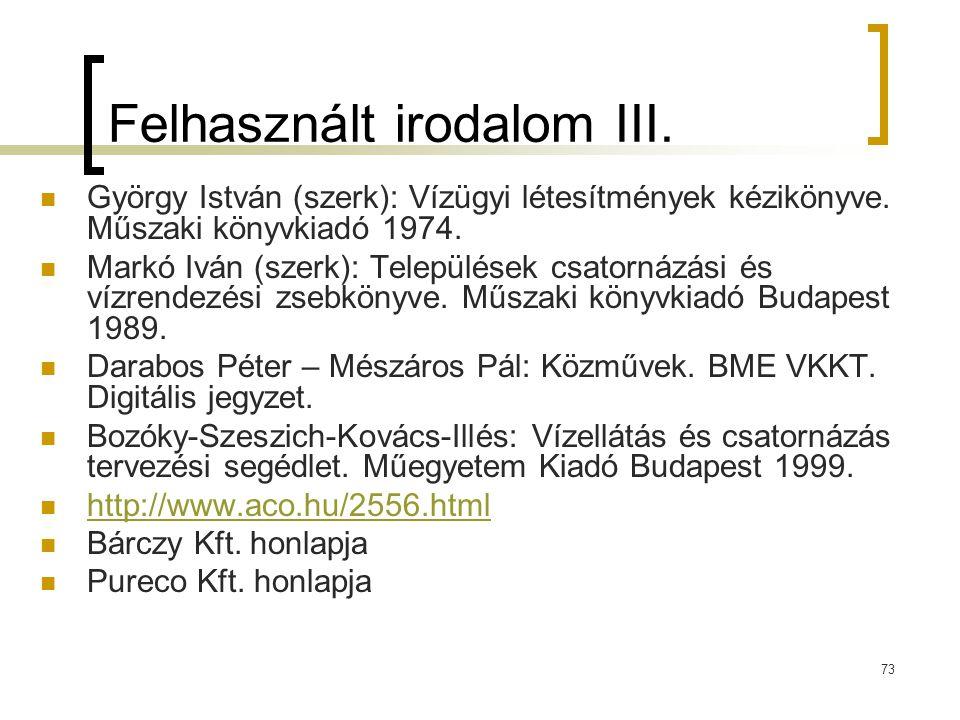 Felhasznált irodalom III.