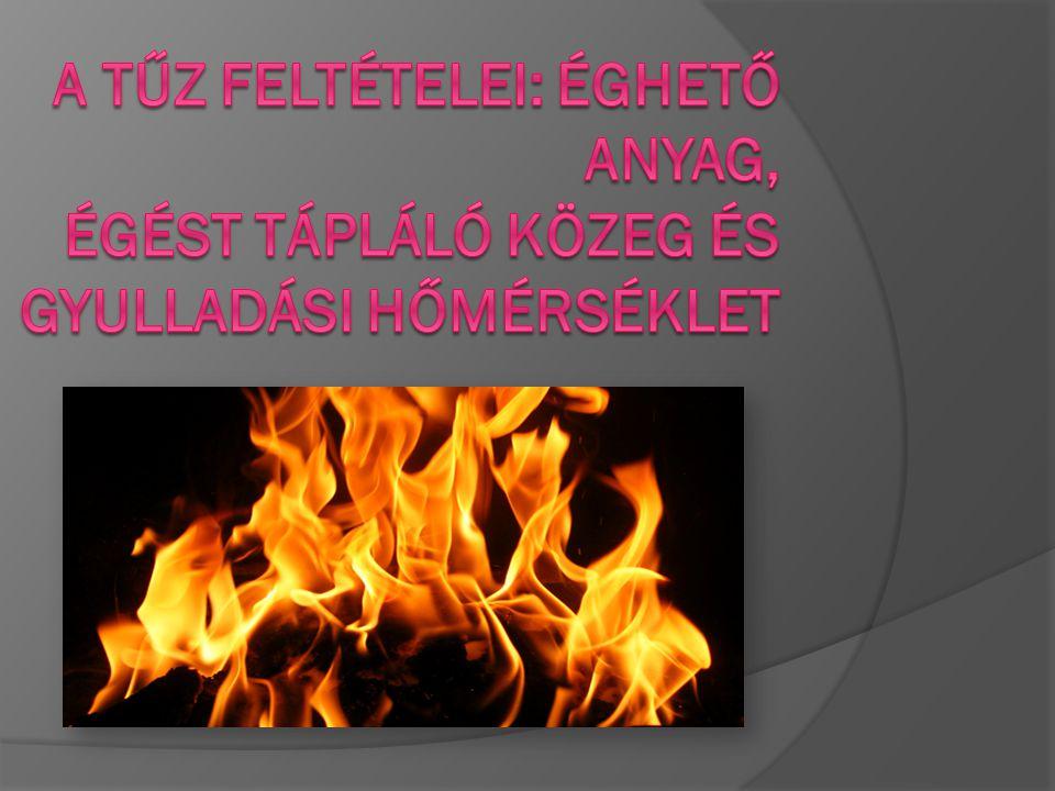 A tűz feltételei: éghető anyag, égést tápláló közeg és gyulladási hőmérséklet