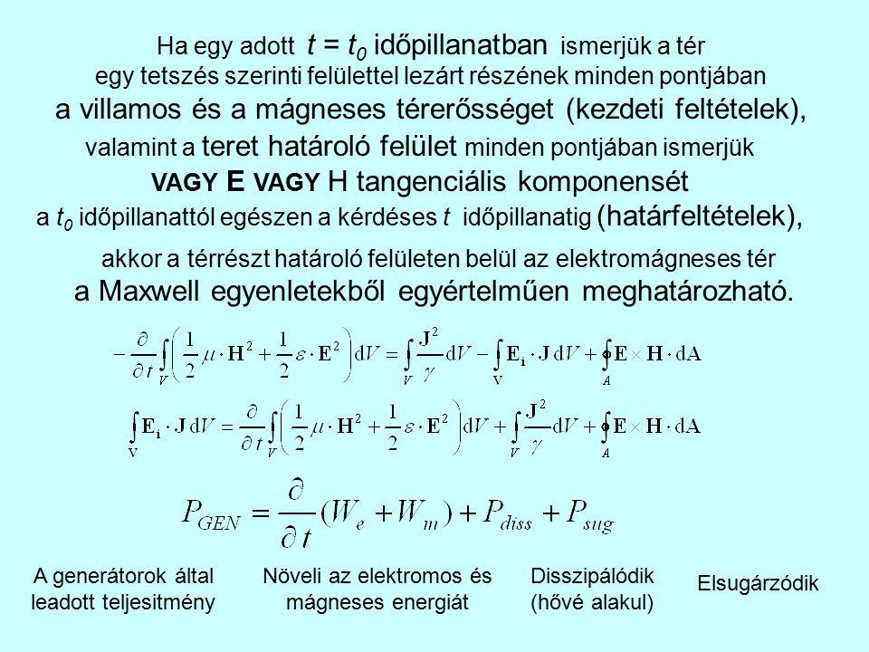 a villamos és a mágneses térerősséget (kezdeti feltételek),