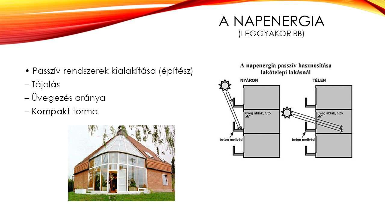 A Napenergia (leggyakoribb)