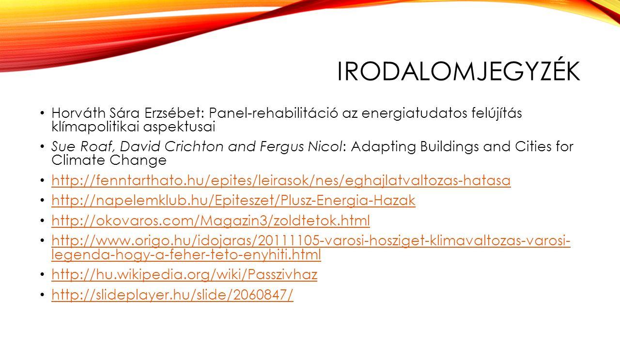 Irodalomjegyzék Horváth Sára Erzsébet: Panel-rehabilitáció az energiatudatos felújítás klímapolitikai aspektusai.