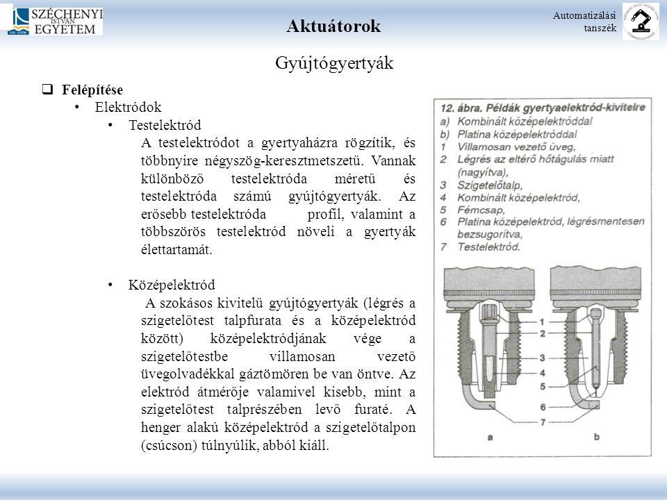 Aktuátorok Gyújtógyertyák Felépítése Elektródok Testelektród