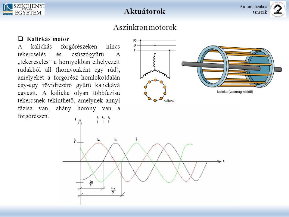 Aktuátorok Aszinkron motorok Kalickás motor