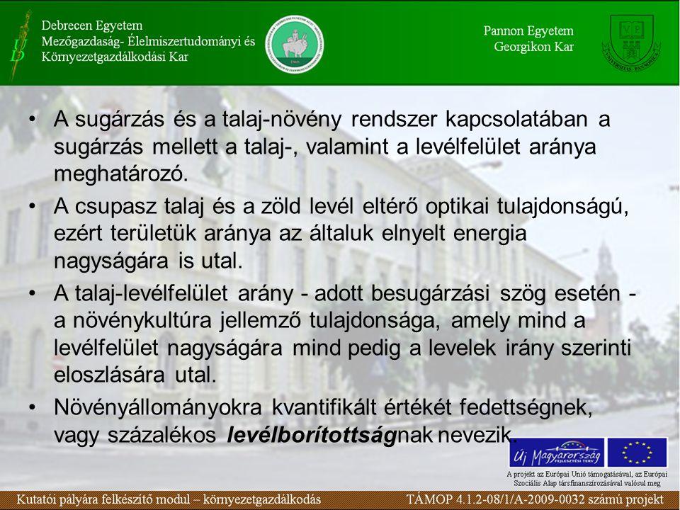 A sugárzás és a talaj-növény rendszer kapcsolatában a sugárzás mellett a talaj-, valamint a levélfelület aránya meghatározó.