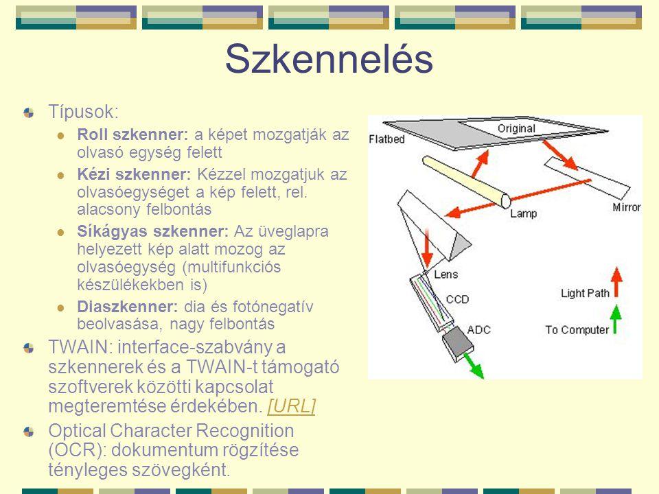 Szkennelés Típusok: Roll szkenner: a képet mozgatják az olvasó egység felett.