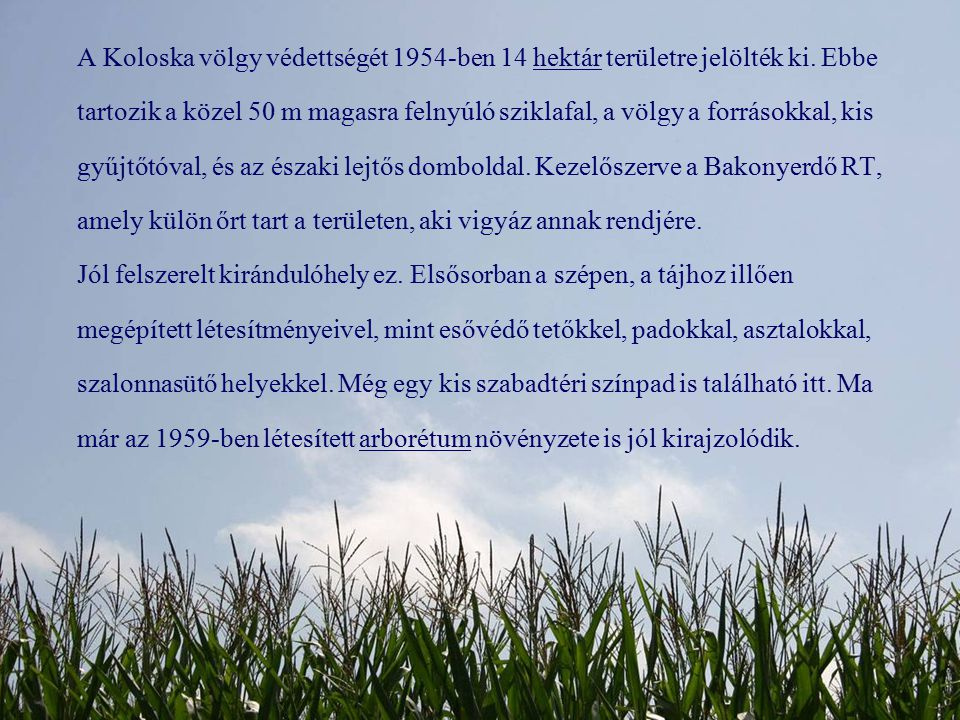 A Koloska völgy védettségét 1954-ben 14 hektár területre jelölték ki