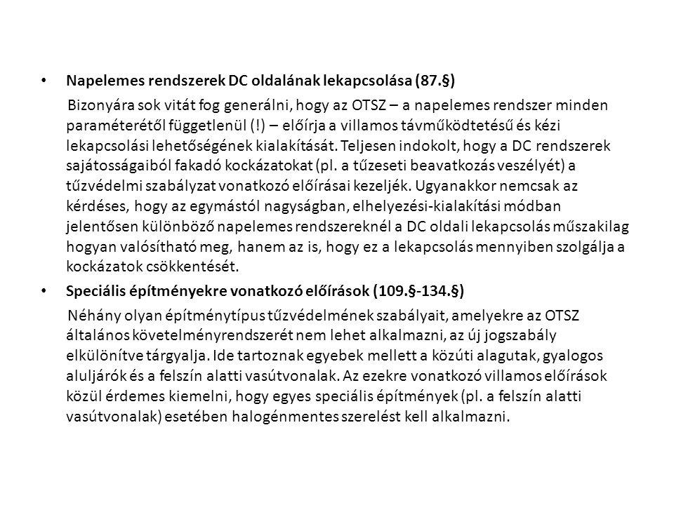 Napelemes rendszerek DC oldalának lekapcsolása (87.§)