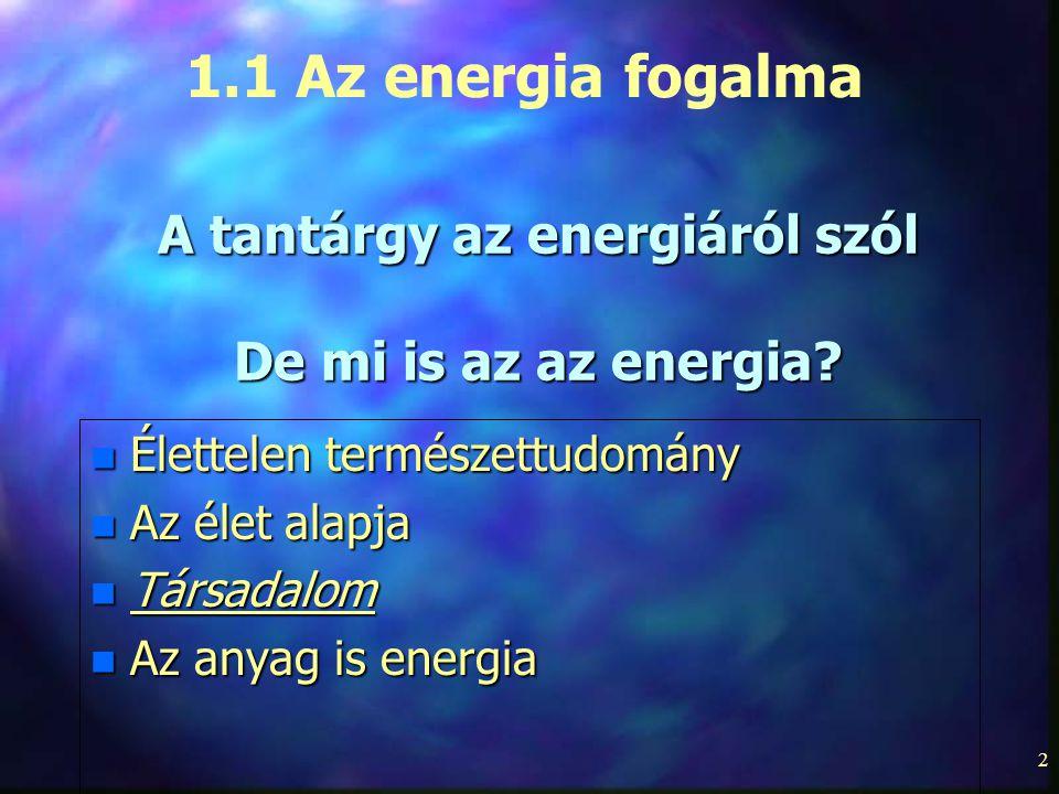 A tantárgy az energiáról szól De mi is az az energia