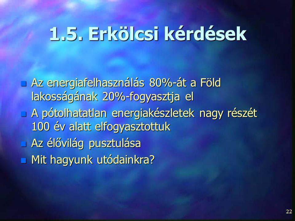 1.5. Erkölcsi kérdések Az energiafelhasználás 80%-át a Föld lakosságának 20%-fogyasztja el.