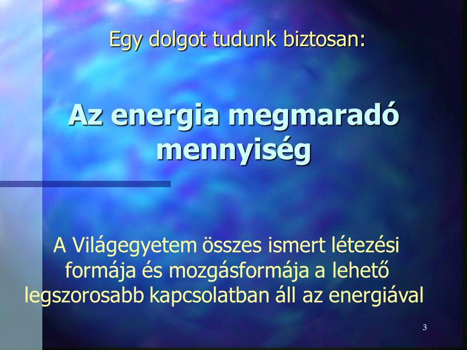 Az energia megmaradó mennyiség