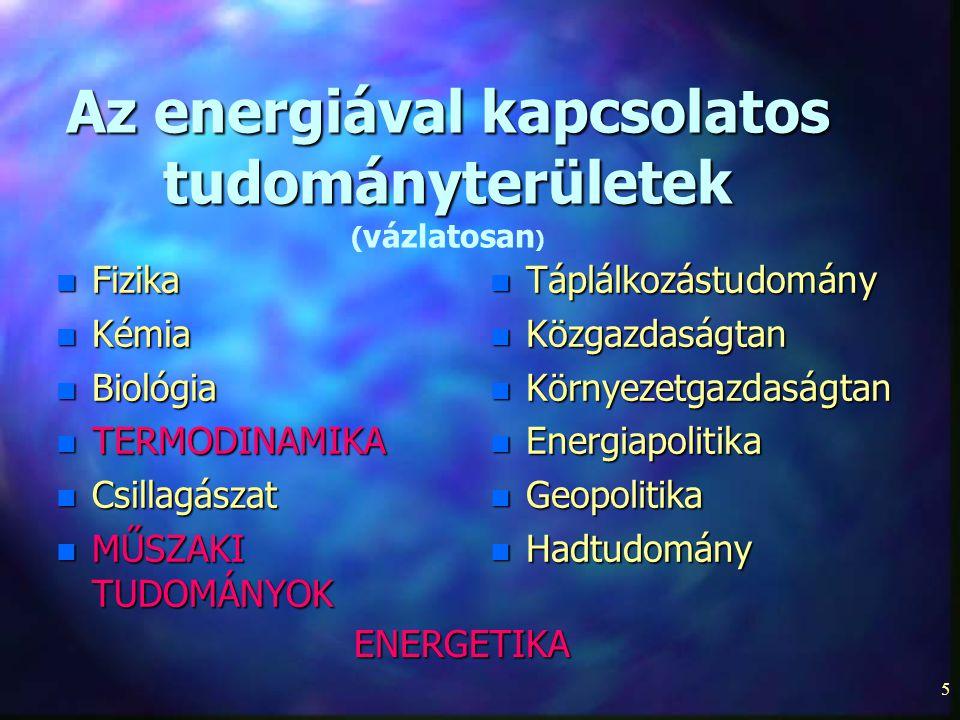Az energiával kapcsolatos tudományterületek (vázlatosan)