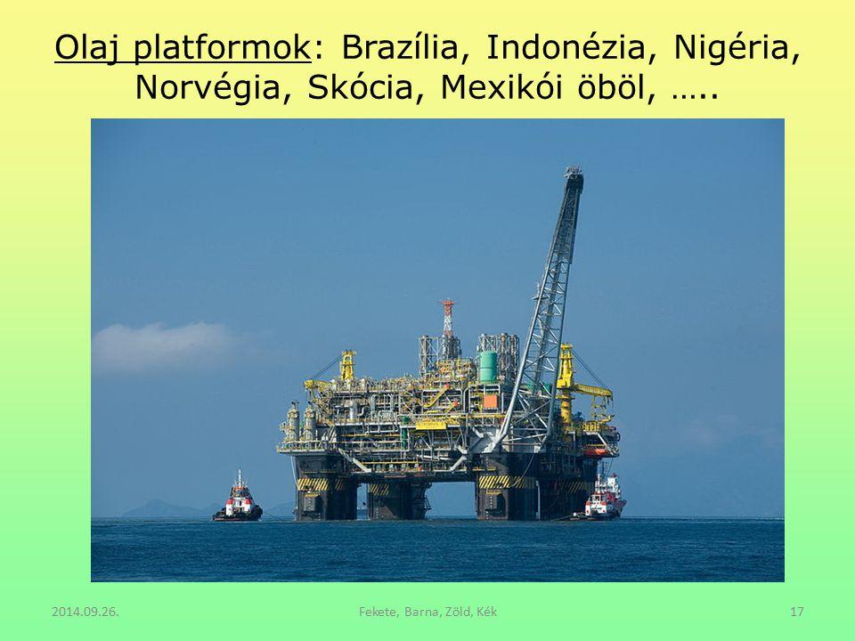 Olaj platformok: Brazília, Indonézia, Nigéria, Norvégia, Skócia, Mexikói öböl, …..