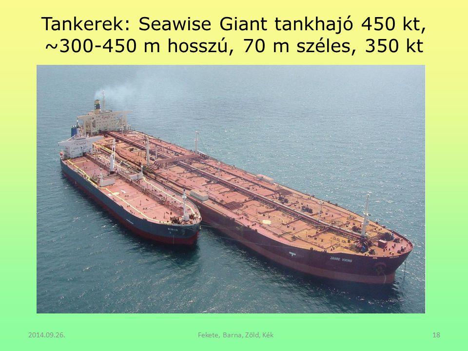 Tankerek: Seawise Giant tankhajó 450 kt, ~300-450 m hosszú, 70 m széles, 350 kt