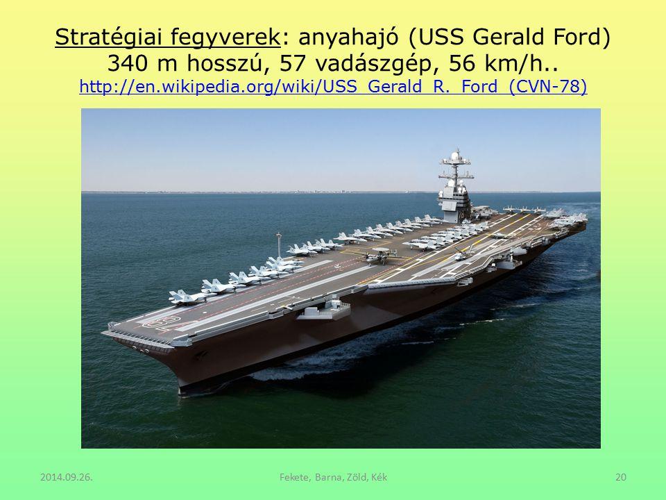 Stratégiai fegyverek: anyahajó (USS Gerald Ford) 340 m hosszú, 57 vadászgép, 56 km/h.. http://en.wikipedia.org/wiki/USS_Gerald_R._Ford_(CVN-78)