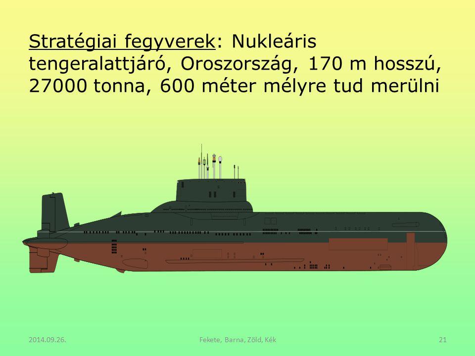 Stratégiai fegyverek: Nukleáris tengeralattjáró, Oroszország, 170 m hosszú, 27000 tonna, 600 méter mélyre tud merülni