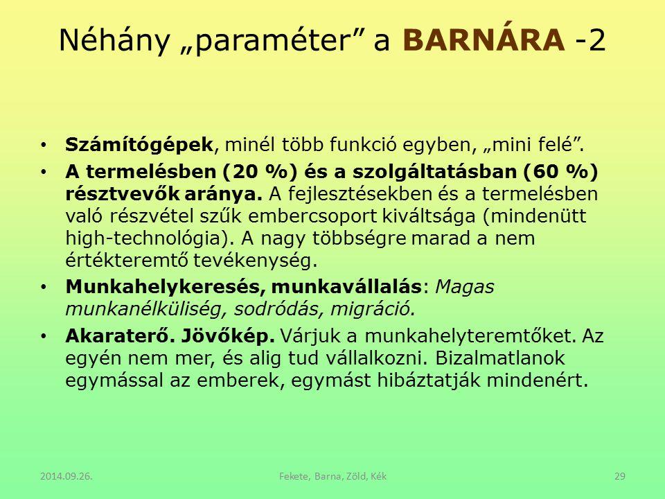 "Néhány ""paraméter a BARNÁRA -2"