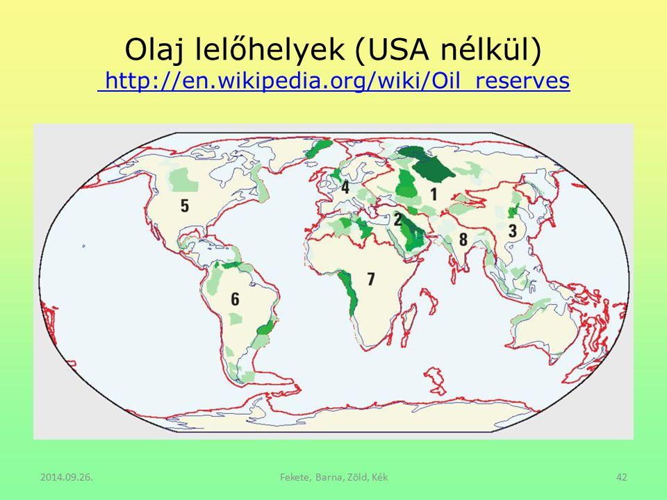 Olaj lelőhelyek (USA nélkül) http://en.wikipedia.org/wiki/Oil_reserves