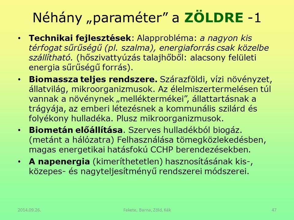 """Néhány """"paraméter a ZÖLDRE -1"""