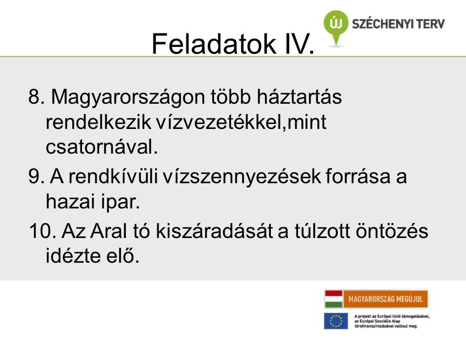 Feladatok IV. 8. Magyarországon több háztartás rendelkezik vízvezetékkel,mint csatornával. 9. A rendkívüli vízszennyezések forrása a hazai ipar.