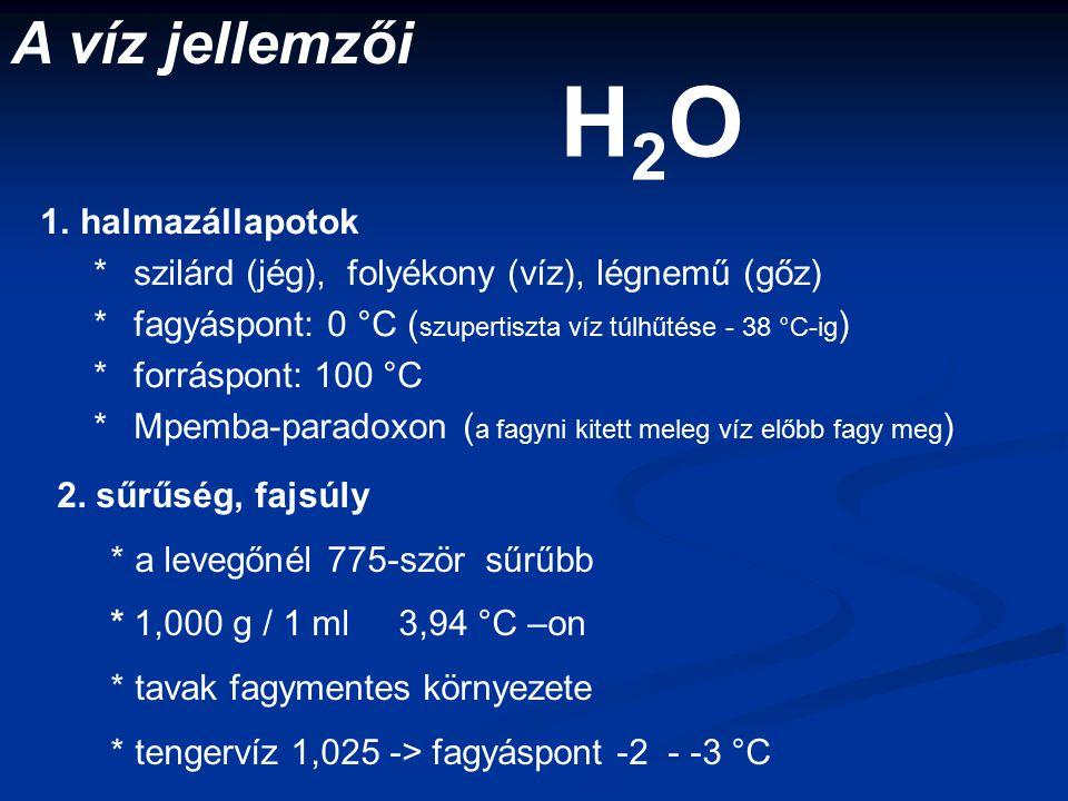 H2O A víz jellemzői halmazállapotok