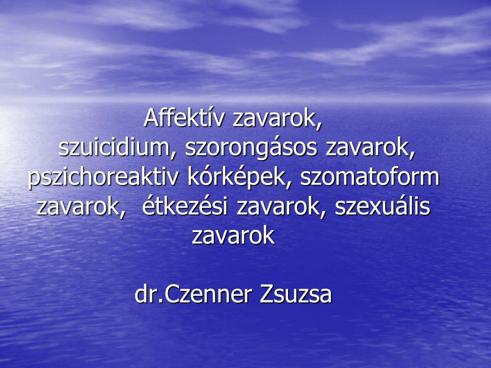 Affektív zavarok, szuicidium, szorongásos zavarok, pszichoreaktiv kórképek, szomatoform zavarok, étkezési zavarok, szexuális zavarok dr.Czenner Zsuzsa