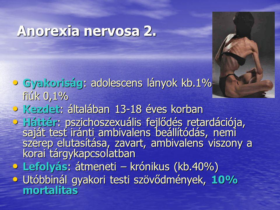 Anorexia nervosa 2. Gyakoriság: adolescens lányok kb.1%-a, fiúk 0,1%