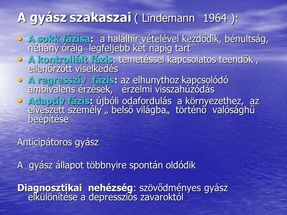 A gyász szakaszai ( Lindemann 1964 ):