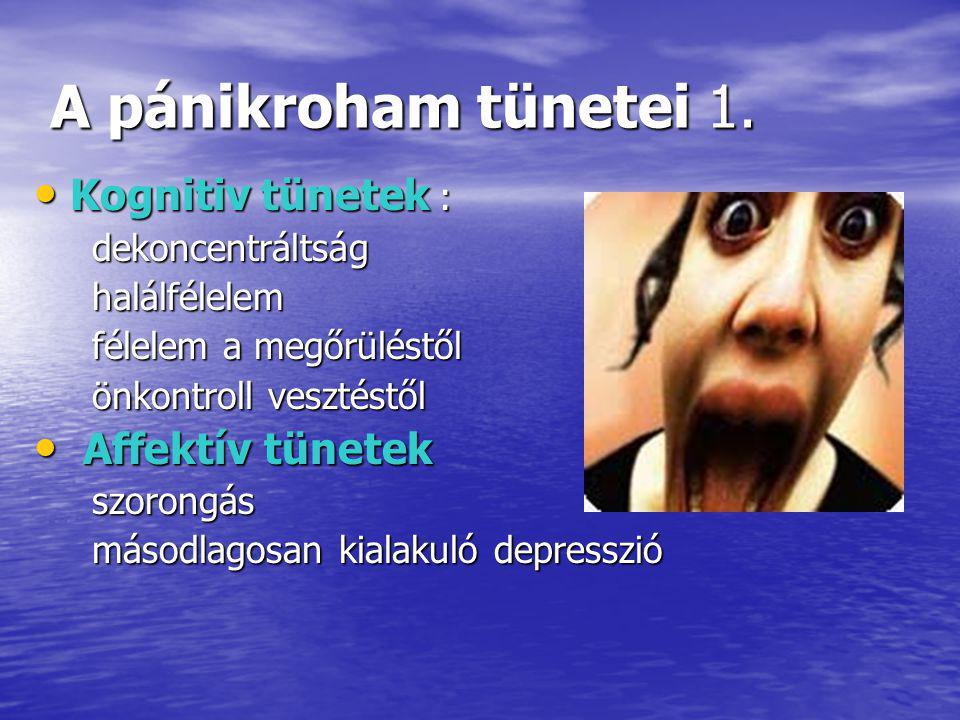 A pánikroham tünetei 1. Kognitiv tünetek : Affektív tünetek