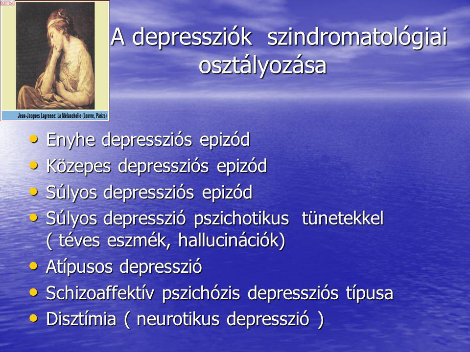 A depressziók szindromatológiai osztályozása