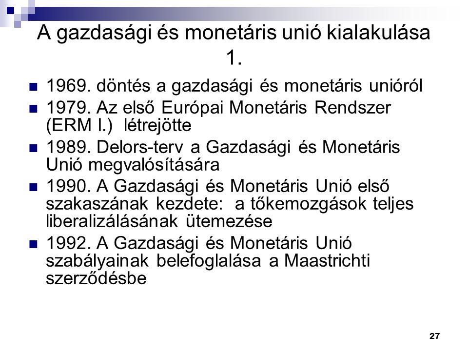 A gazdasági és monetáris unió kialakulása 1.