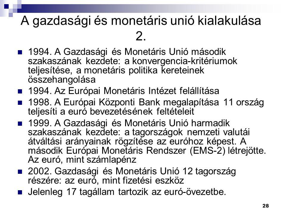 A gazdasági és monetáris unió kialakulása 2.