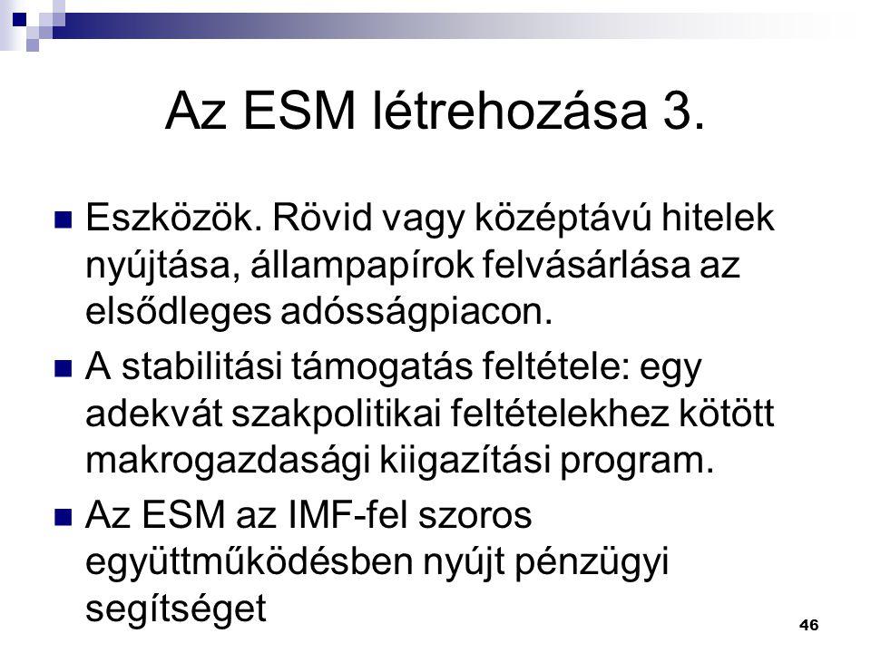Az ESM létrehozása 3. Eszközök. Rövid vagy középtávú hitelek nyújtása, állampapírok felvásárlása az elsődleges adósságpiacon.
