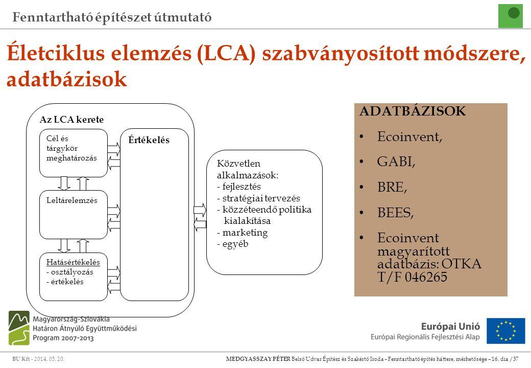 Életciklus elemzés (LCA) szabványosított módszere, adatbázisok