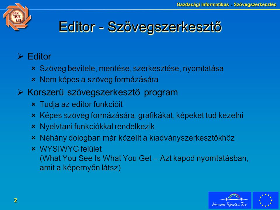 Editor - Szövegszerkesztő