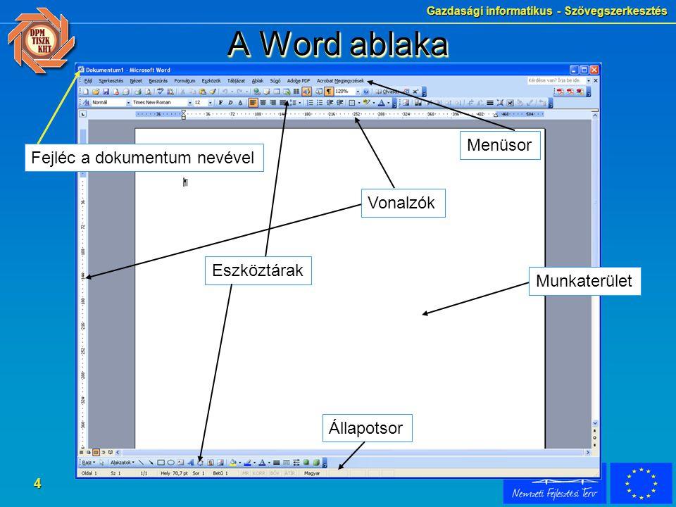 A Word ablaka Menüsor Fejléc a dokumentum nevével Vonalzók Eszköztárak