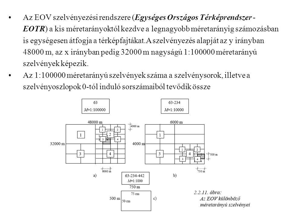 Az EOV szelvényezési rendszere (Egységes Országos Térképrendszer - EOTR) a kis méretarányoktól kezdve a legnagyobb méretarányig számozásban is egységesen átfogja a térképfajtákat.A szelvényezés alapját az y irányban 48000 m, az x irányban pedig 32000 m nagyságú 1:100000 méretarányú szelvények képezik.