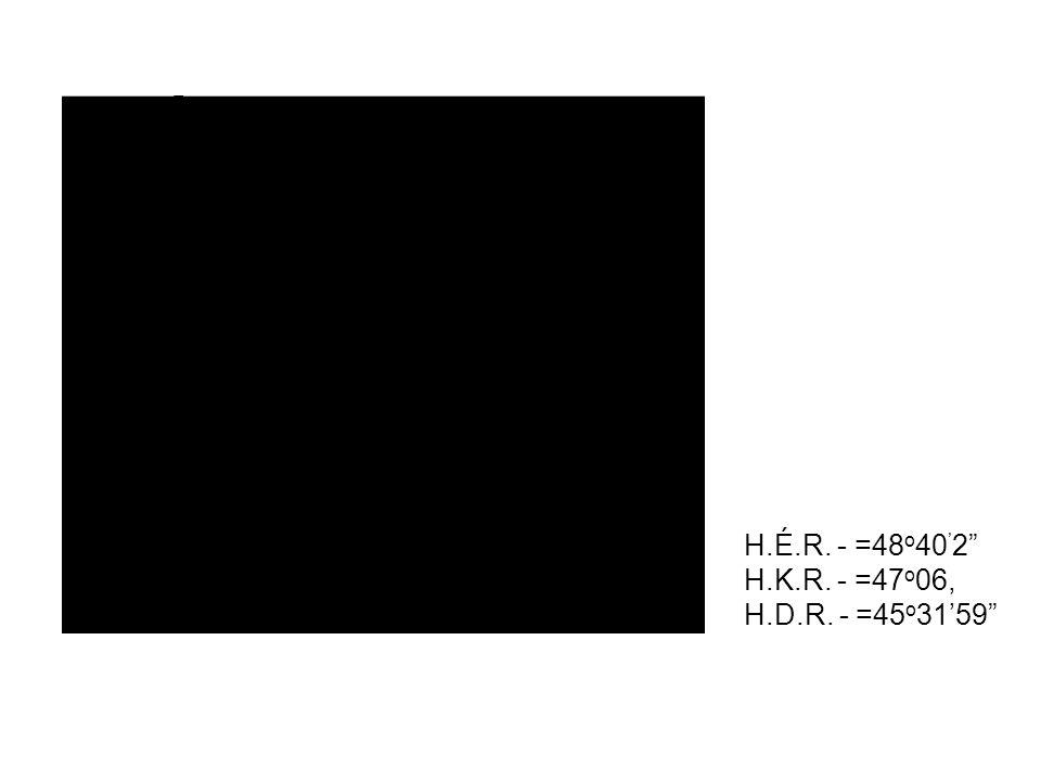 H.É.R. - =48o40'2 H.K.R. - =47o06, H.D.R. - =45o31'59