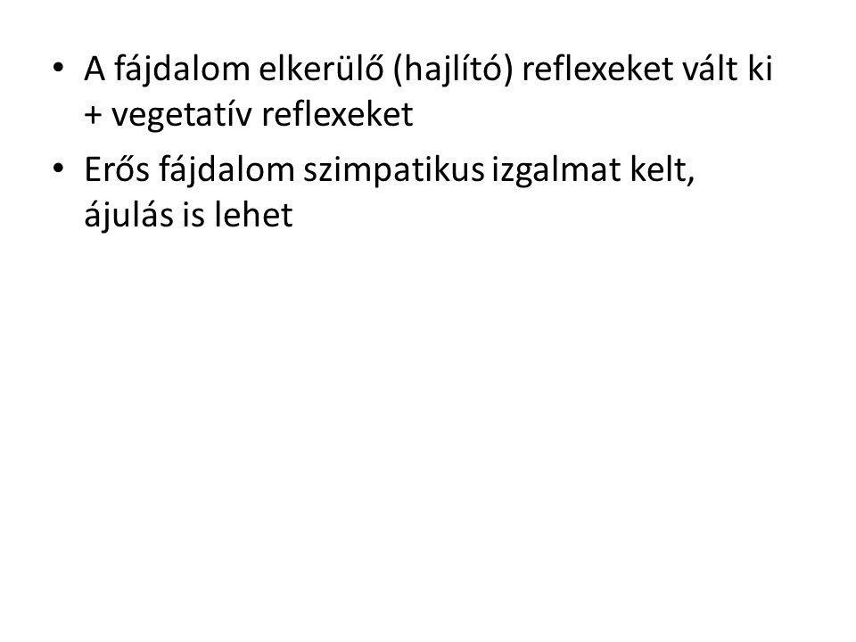 A fájdalom elkerülő (hajlító) reflexeket vált ki + vegetatív reflexeket