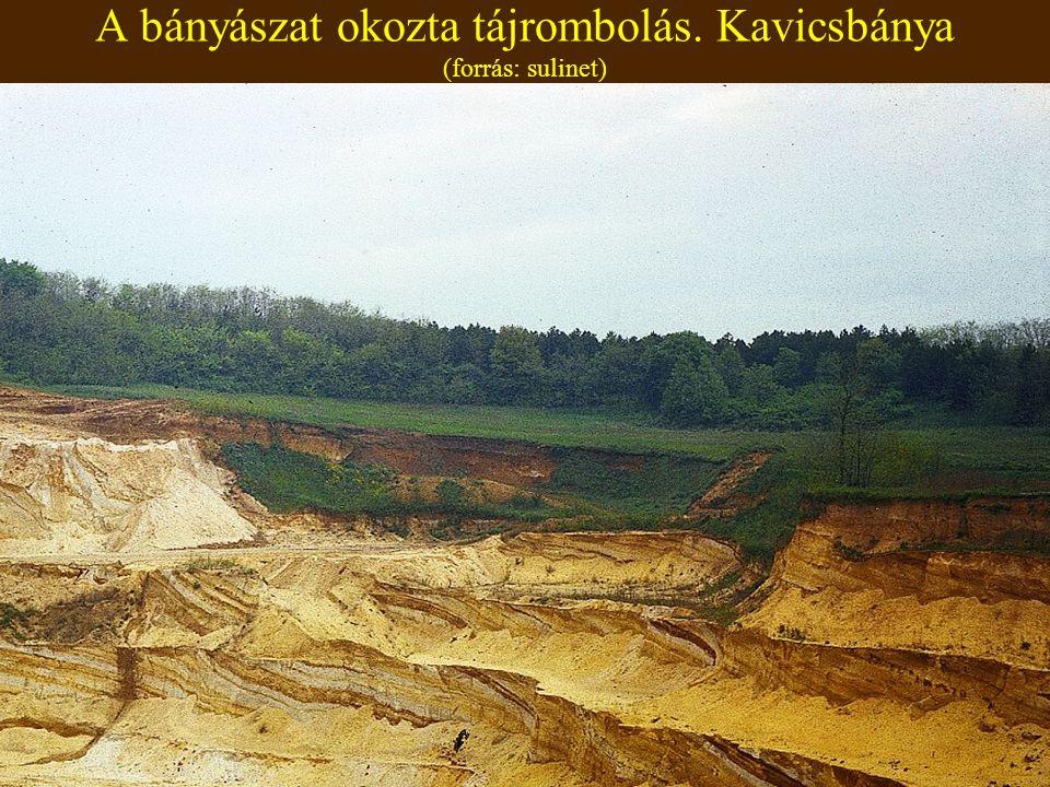 A bányászat okozta tájrombolás. Kavicsbánya (forrás: sulinet)