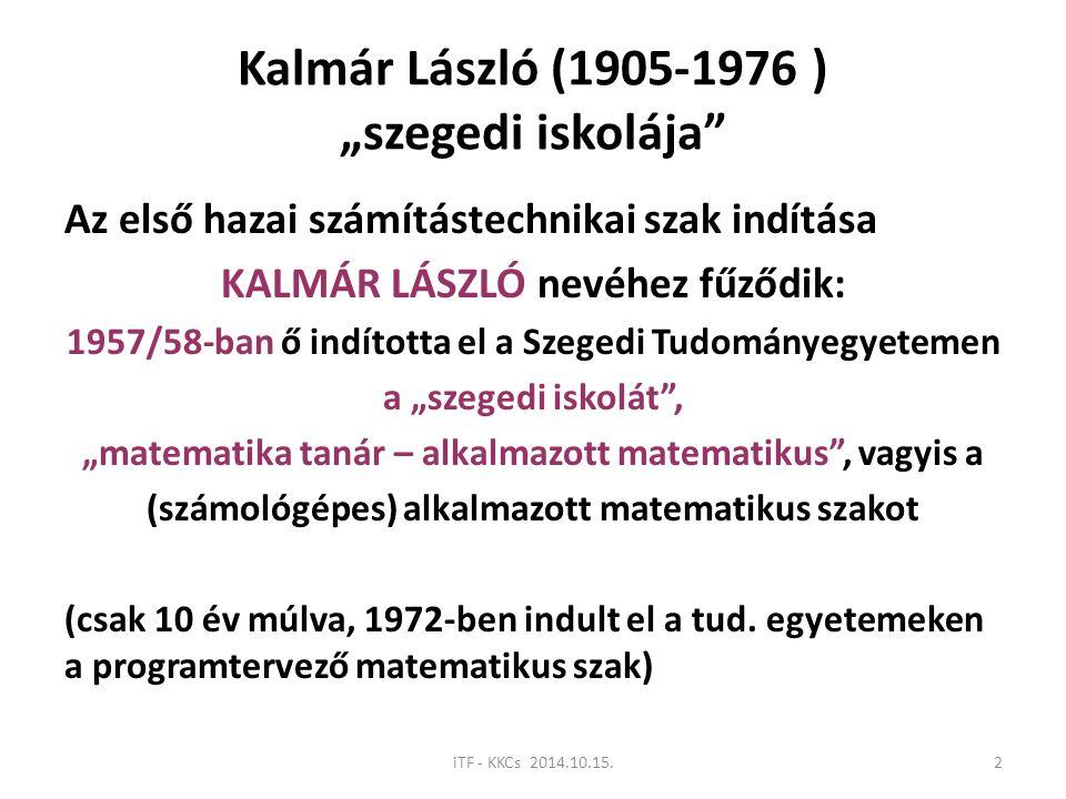 """Kalmár László (1905-1976 ) """"szegedi iskolája"""