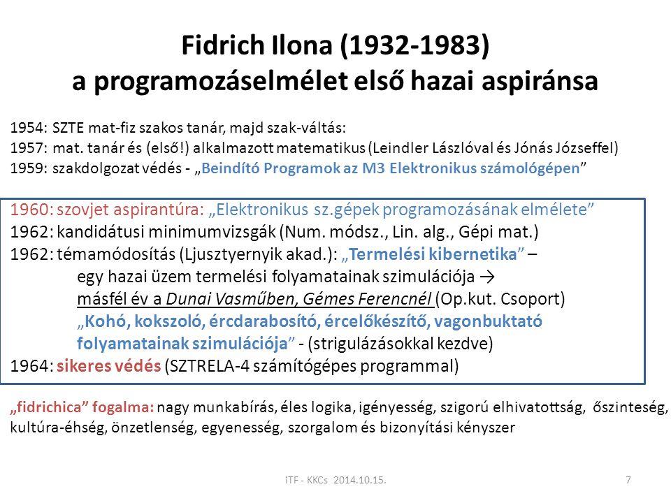 Fidrich Ilona (1932-1983) a programozáselmélet első hazai aspiránsa