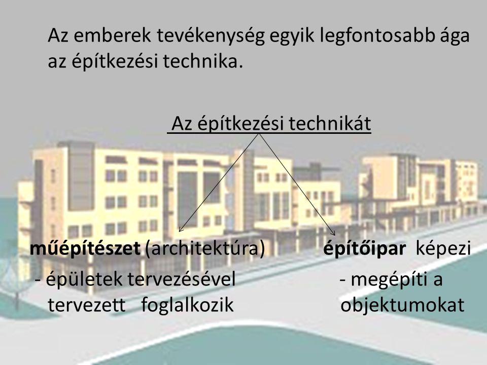 Az emberek tevékenység egyik legfontosabb ága az építkezési technika.