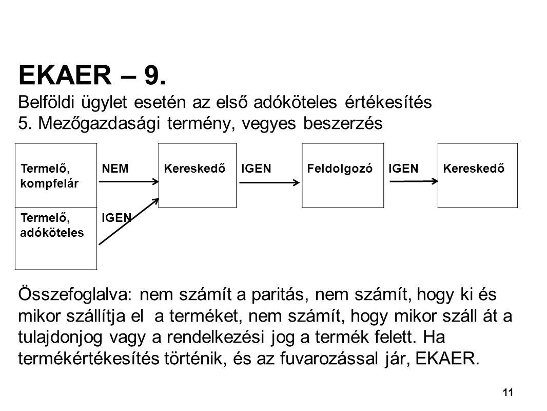 EKAER – 9. Belföldi ügylet esetén az első adóköteles értékesítés