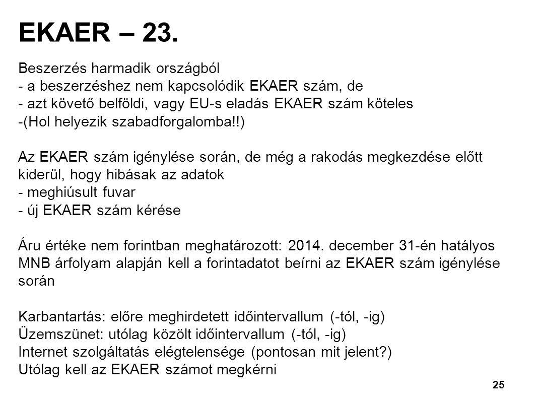 EKAER – 23. Beszerzés harmadik országból