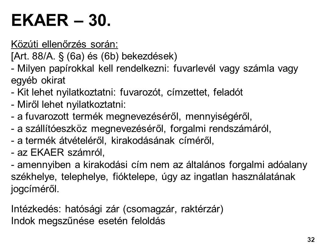 EKAER – 30. Közúti ellenőrzés során: