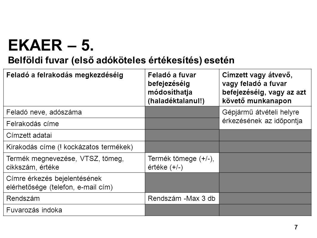 EKAER – 5. Belföldi fuvar (első adóköteles értékesítés) esetén