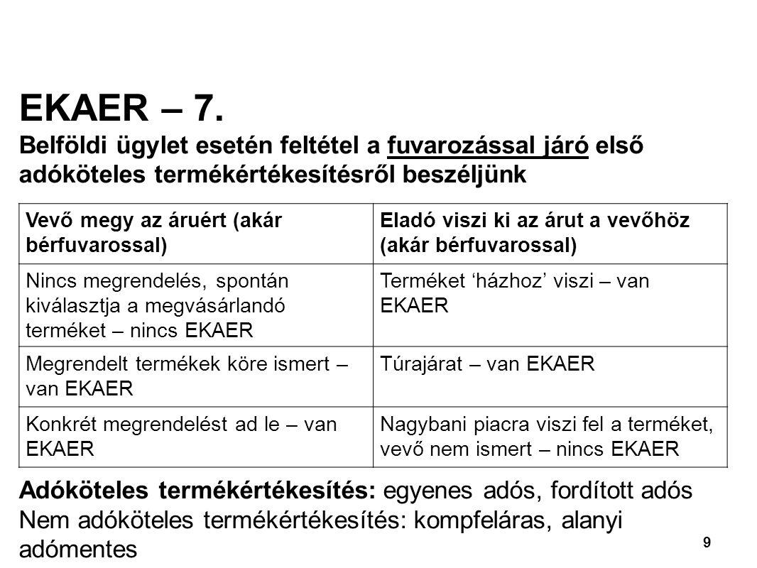 EKAER – 7. Belföldi ügylet esetén feltétel a fuvarozással járó első adóköteles termékértékesítésről beszéljünk.