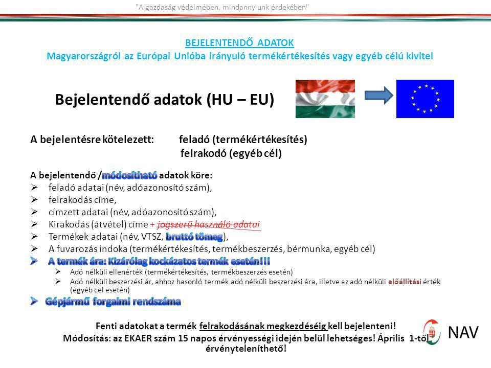 Bejelentendő adatok (HU – EU)