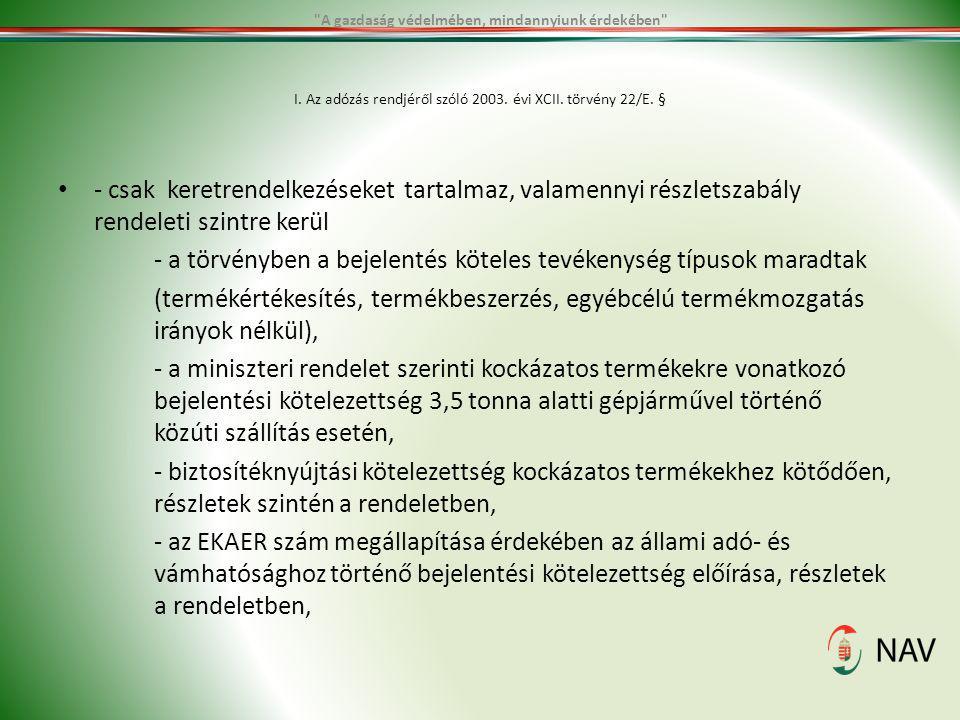 I. Az adózás rendjéről szóló 2003. évi XCII. törvény 22/E. §